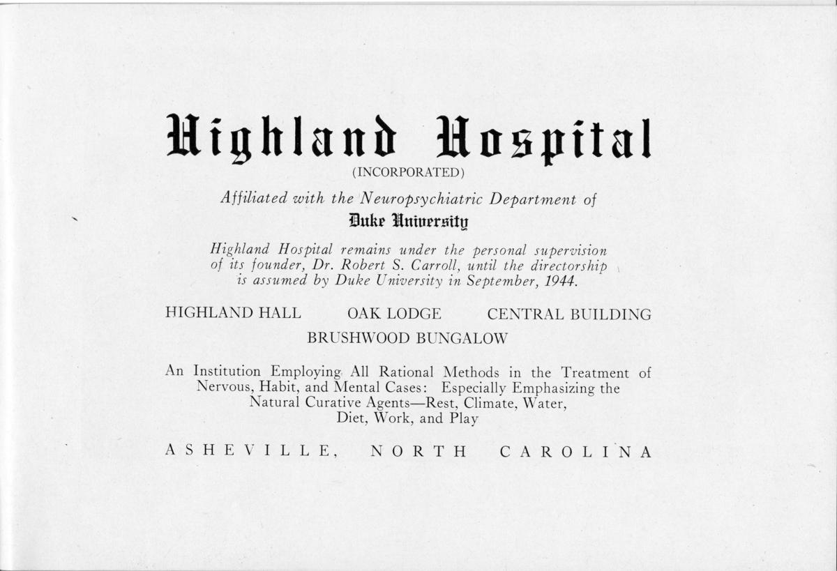 Information about Highland Hospital from a promotional booklet