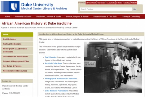 African American History at Duke Medicine LibGuide