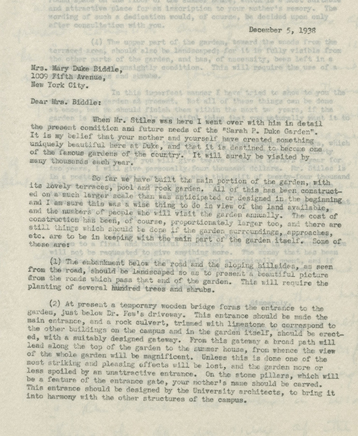 Dr. Hanes letter to Mary Duke Biddle