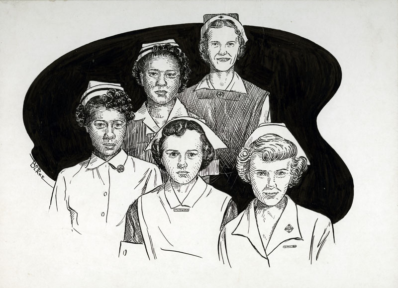 Drawing of nurses by Bob Blake
