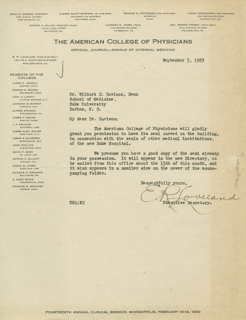 American College of Physicians Letter