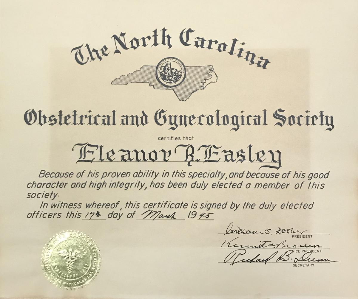 Obstetrical and Gynecological Society certificate