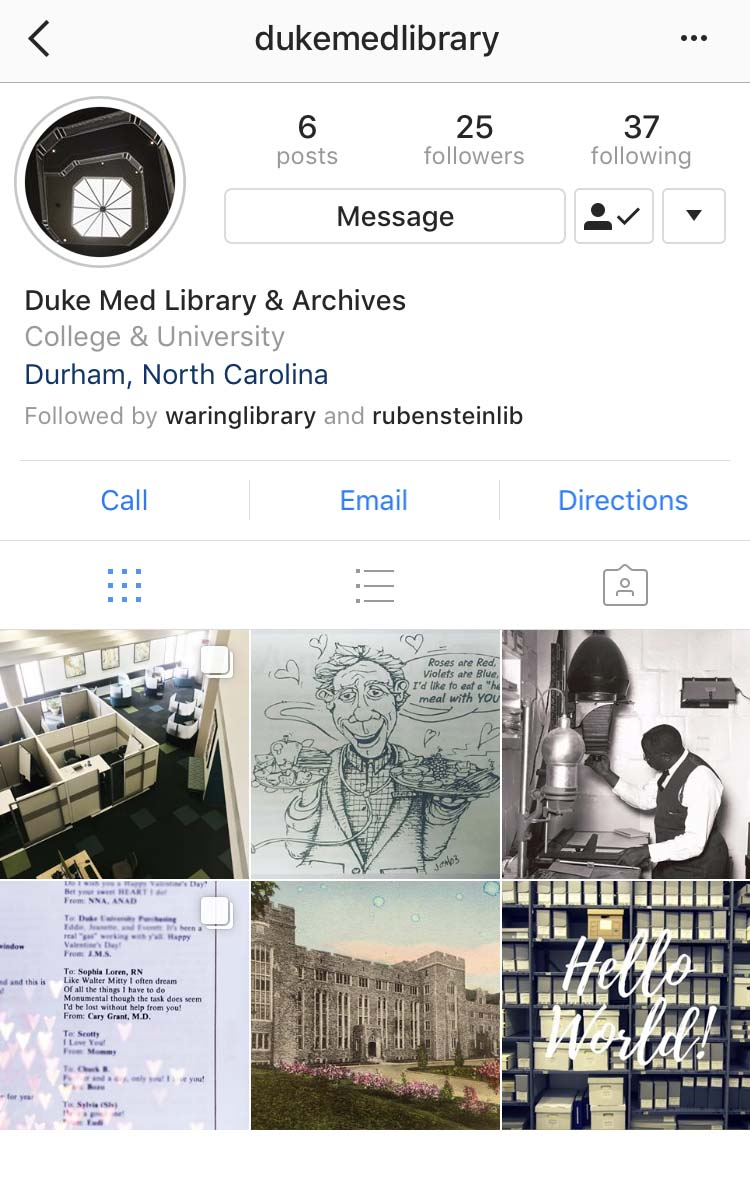 DUMC Library & Archives instagram page