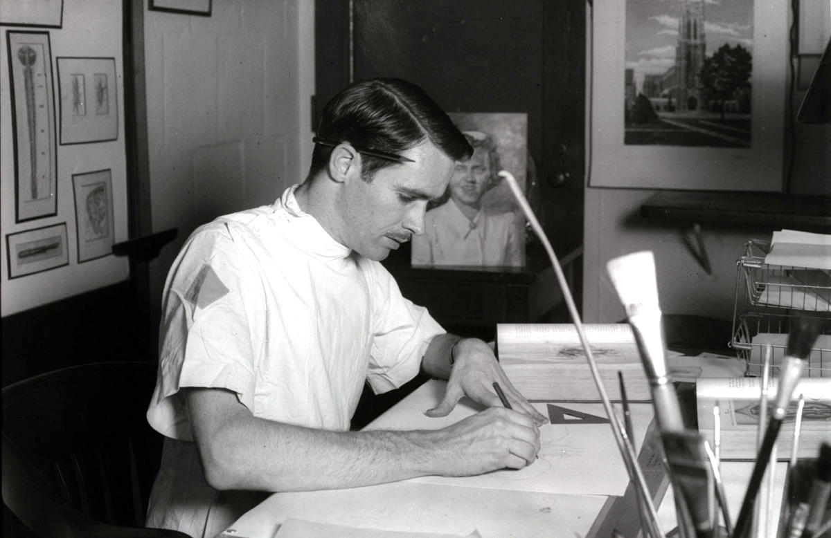 Bob Blake at work in the Division of Medical Illustration during his time with Civilian Public Service Unit #61, ca. 1943