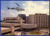 Life Flight flying over hospital
